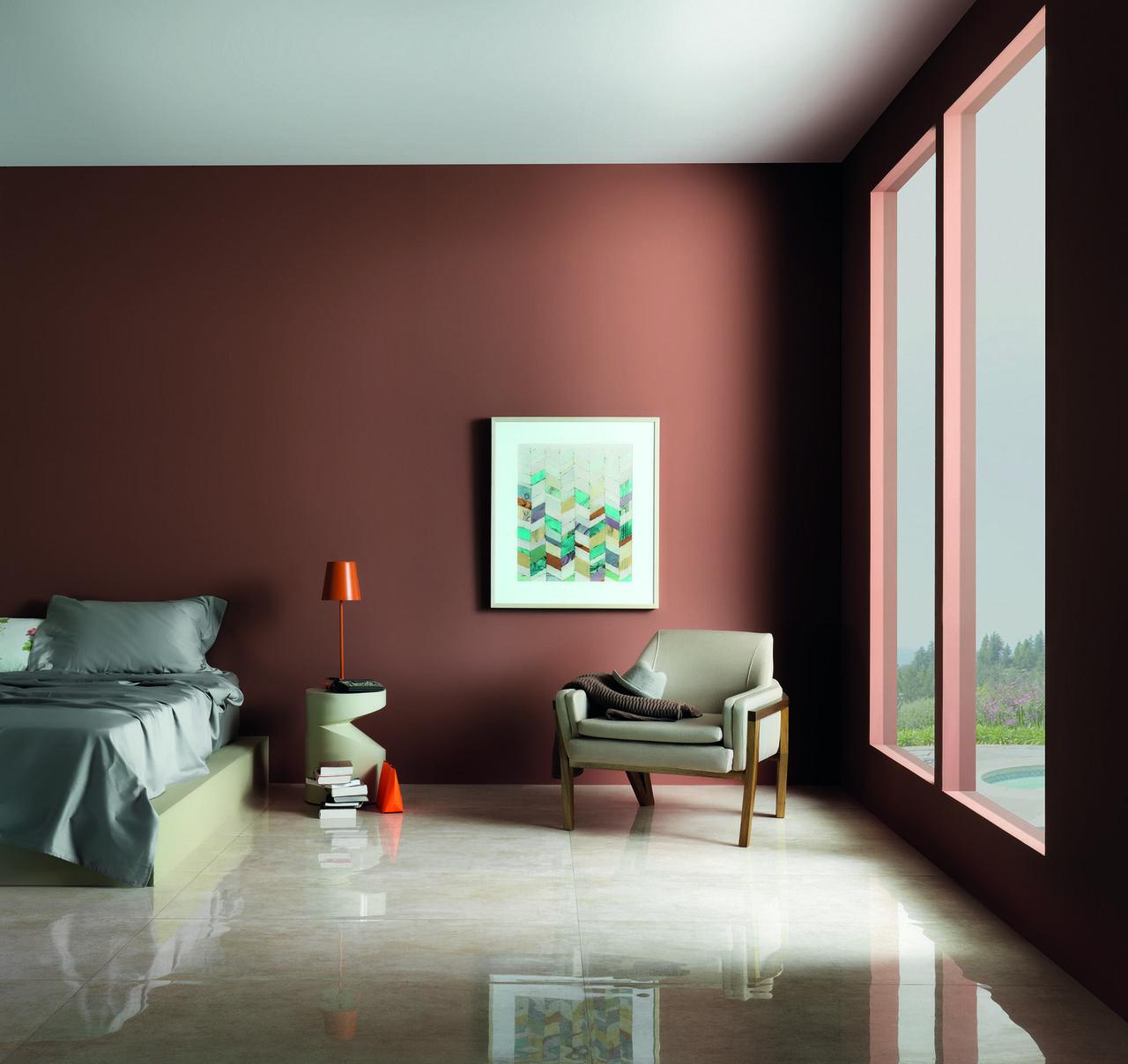 Parede Marrom Com Quadro Colorido De Portobello 86880 No Viva Decora