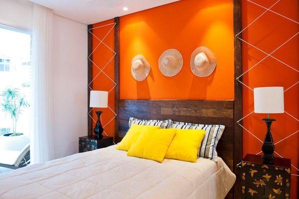 cores de parede na decoração quarto laranja - cores de tintas
