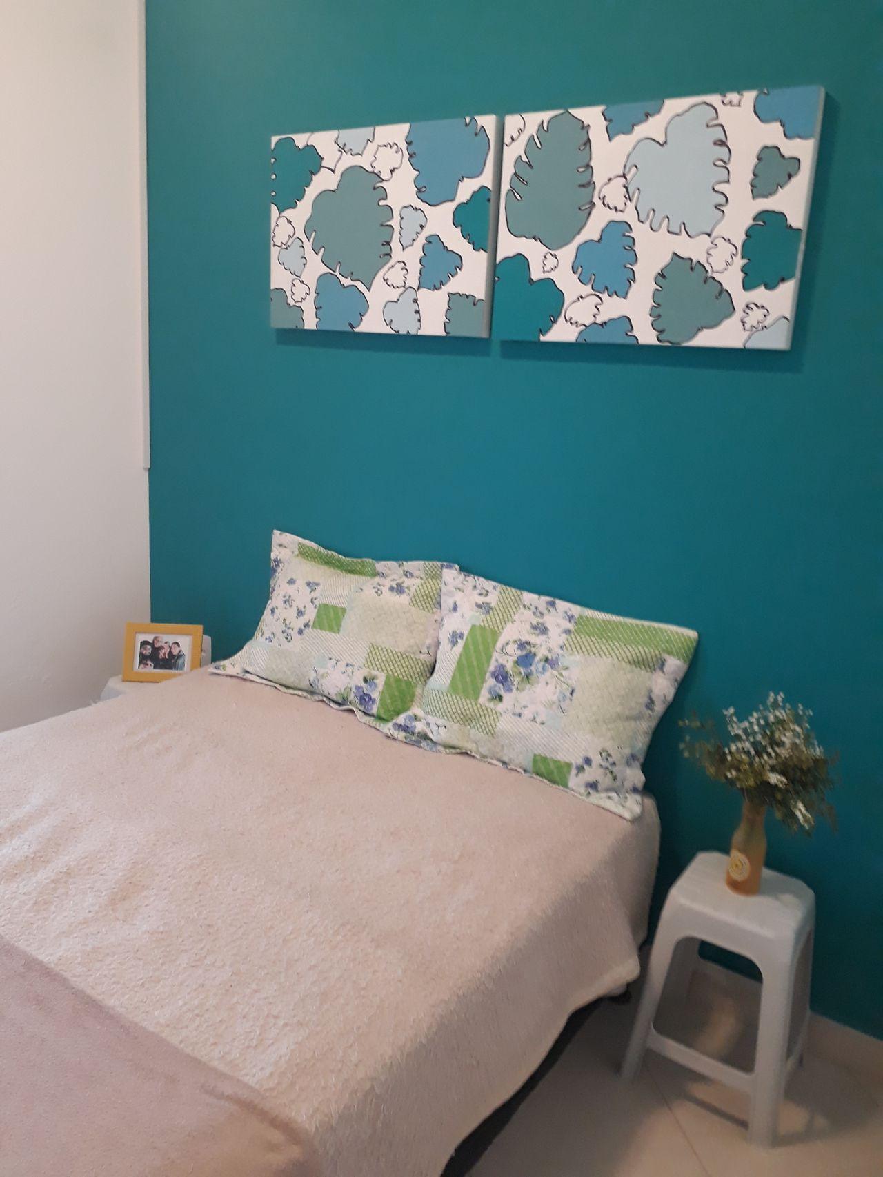 Azul Tiffany Na Parede De Sonia Mello 168692 No Viva Decora ~ Escritorio No Quarto De Casal E Quarto Casal Azul Tiffany
