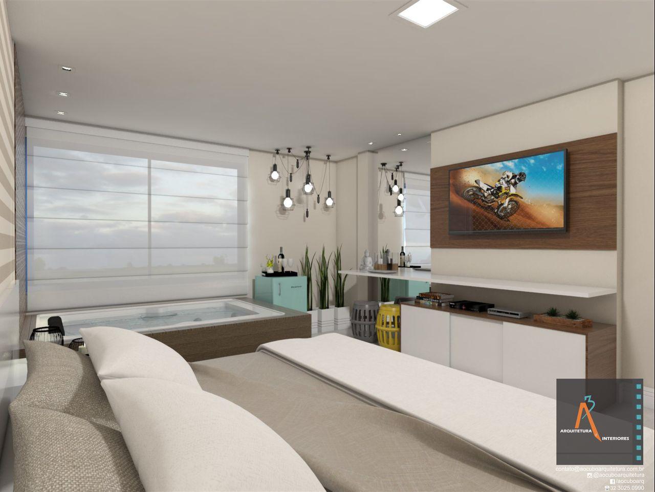 Quarto Casal Neutro Com Painel De Tv De Ao Cubo Arquitetura E  ~ Painel De Tv Para Quarto Planejado
