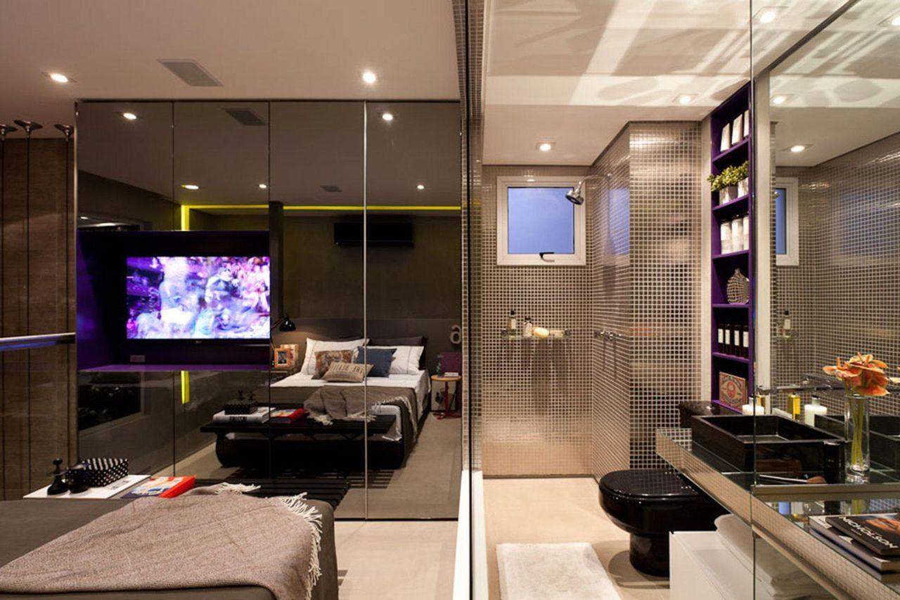 Quarto Com Parede Espelhada E Banheiro Integrado De Basiches  ~ Quarto Integrado Com Banheiro E Modelo De Quarto De Casal