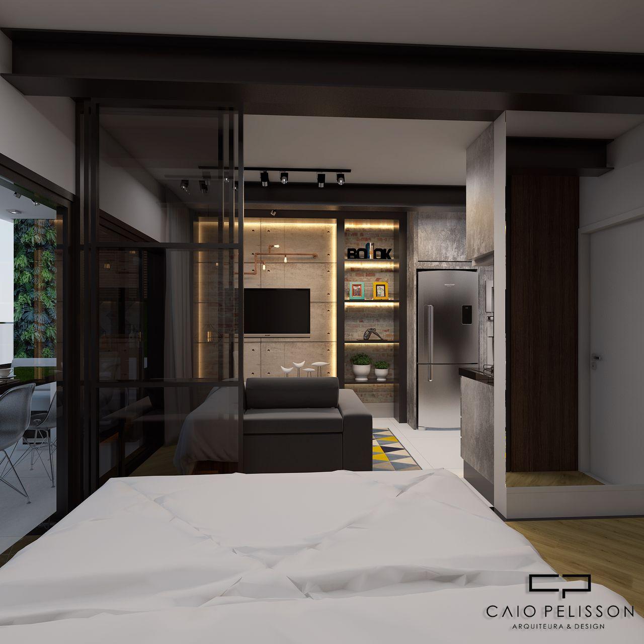 Quarto Integrado Sala De Tv Estilo Industrial De Arquiteto Caio  ~ Quarto Integrado Com Banheiro E Modelo De Quarto De Casal