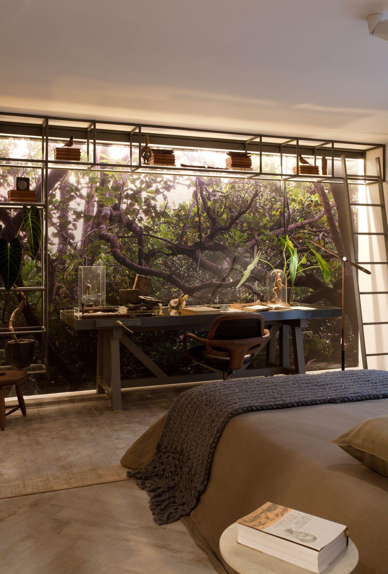 Quarto Moderno Com Parede Adesivada Com Rvores De Sandra Moura  ~ Grafite Parede Quarto Com Quarto Moderno Solteiro