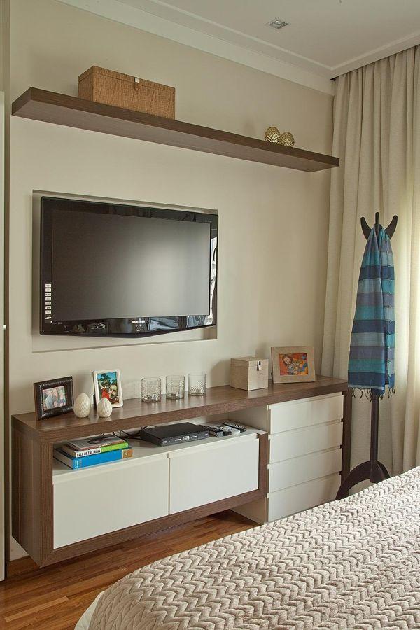 Quartos pequenos com painel para TV