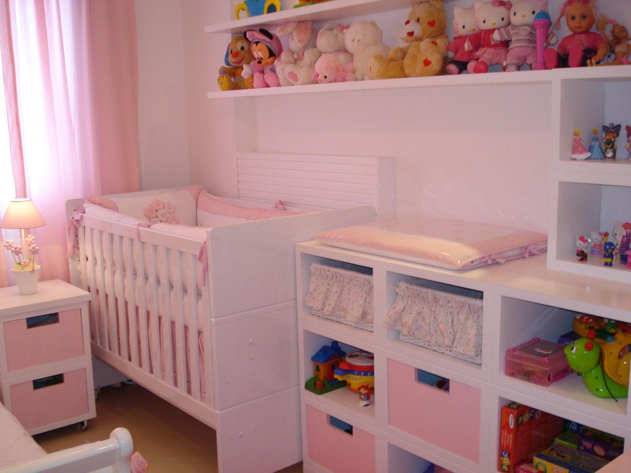 Quarto De Bebe Rosa Com Pel Cias Na Decora O De Leiza Veiga  ~ Decoração De Quarto De Menina Bebê