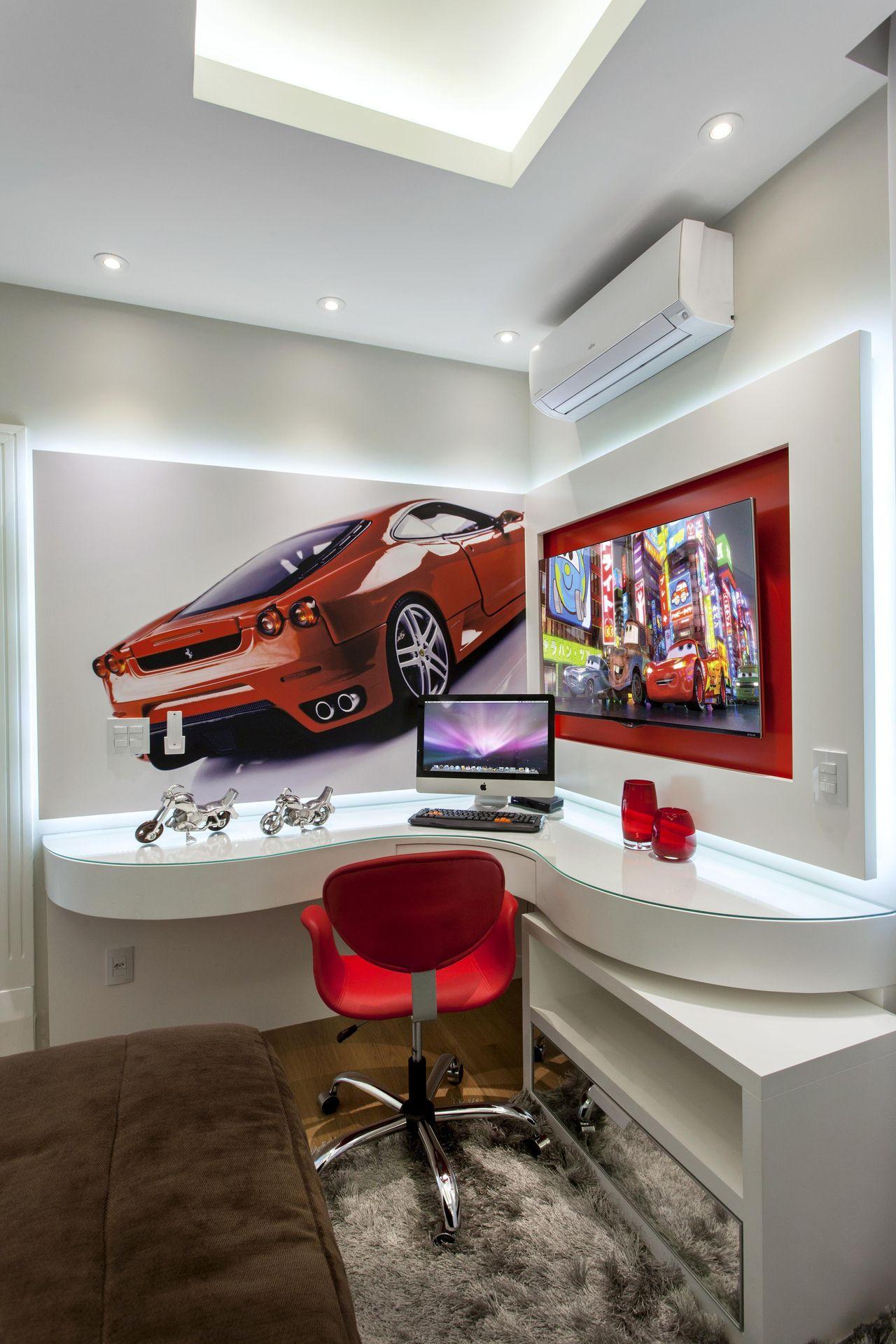 Quarto Infantil Com Tema Carro Ferrari Vermelho De Aquiles Nicolas  -> Sala Quarto Cozinha Carro