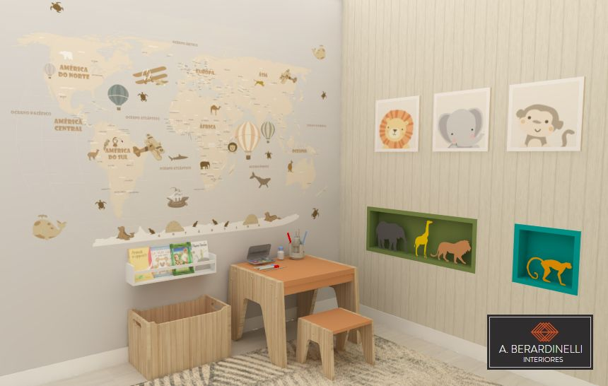 Quarto Infantil Safari com Mapa Mundi na Parede de A Berardinelli