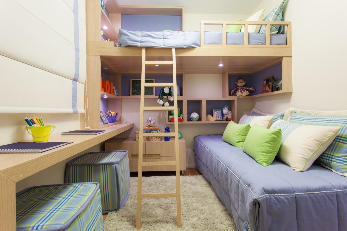 Beliche Com Escrivaninha Une Praticidade E Modernidade ~ Quarto De Solteiro Planejado Para Apartamento Pequeno