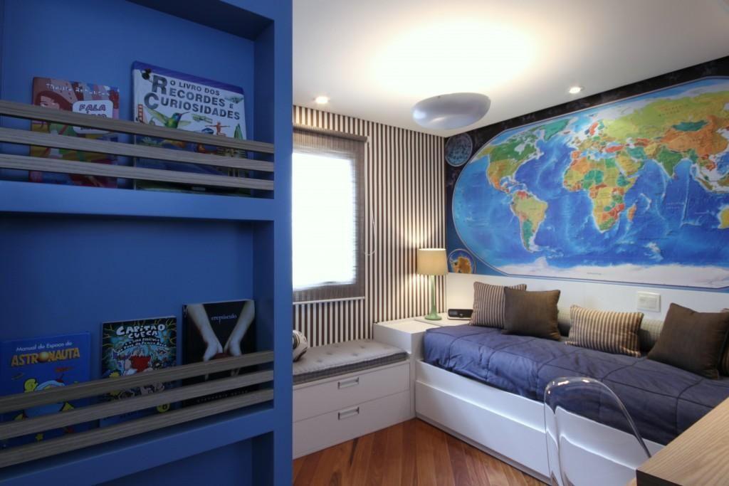Quarto de solteiro com porta livros Azul de MeyerCortez  ~ Quarto Solteiro Design