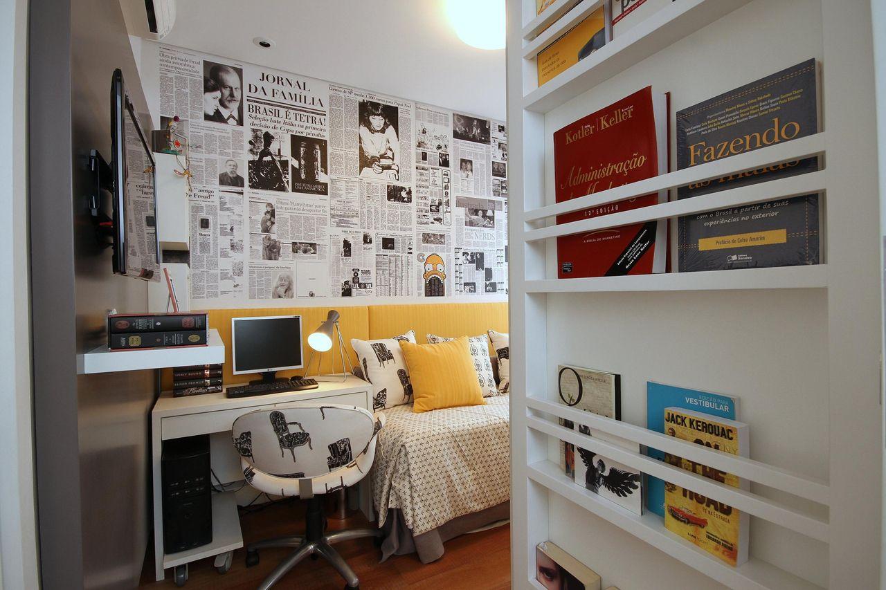 Quarto De Solteiro Com Prateleira Para Os Livros De Meyercortez  ~ Ideias De Prateleiras Para Quarto