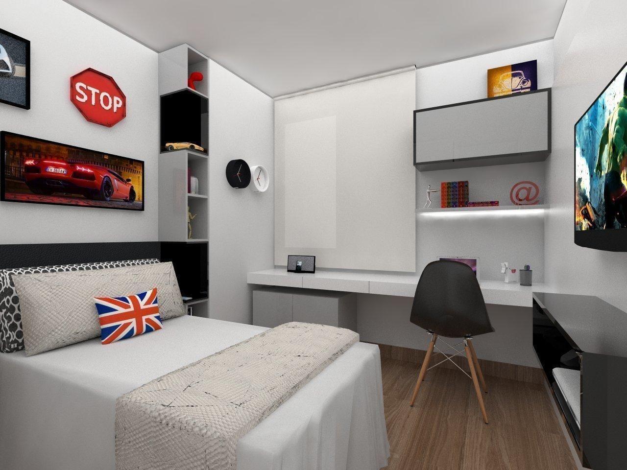 Quarto Com Quadro De Carro De Amis Arquitetura Design 103506 No  -> Sala Quarto Cozinha Carro