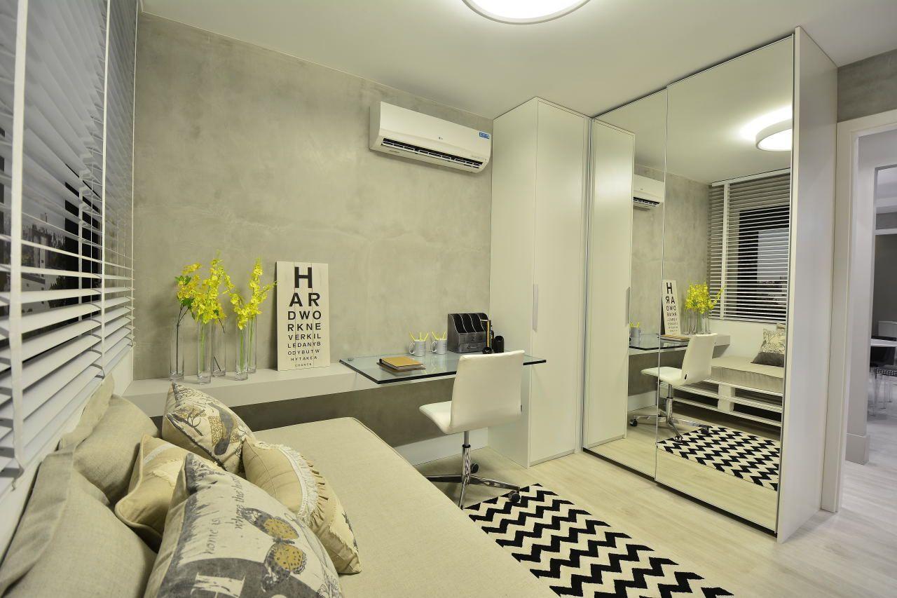 Quarto E Home Office Em Cimento Queimado De Bg Arquitetura  ~ Home Office No Quarto De Solteiro