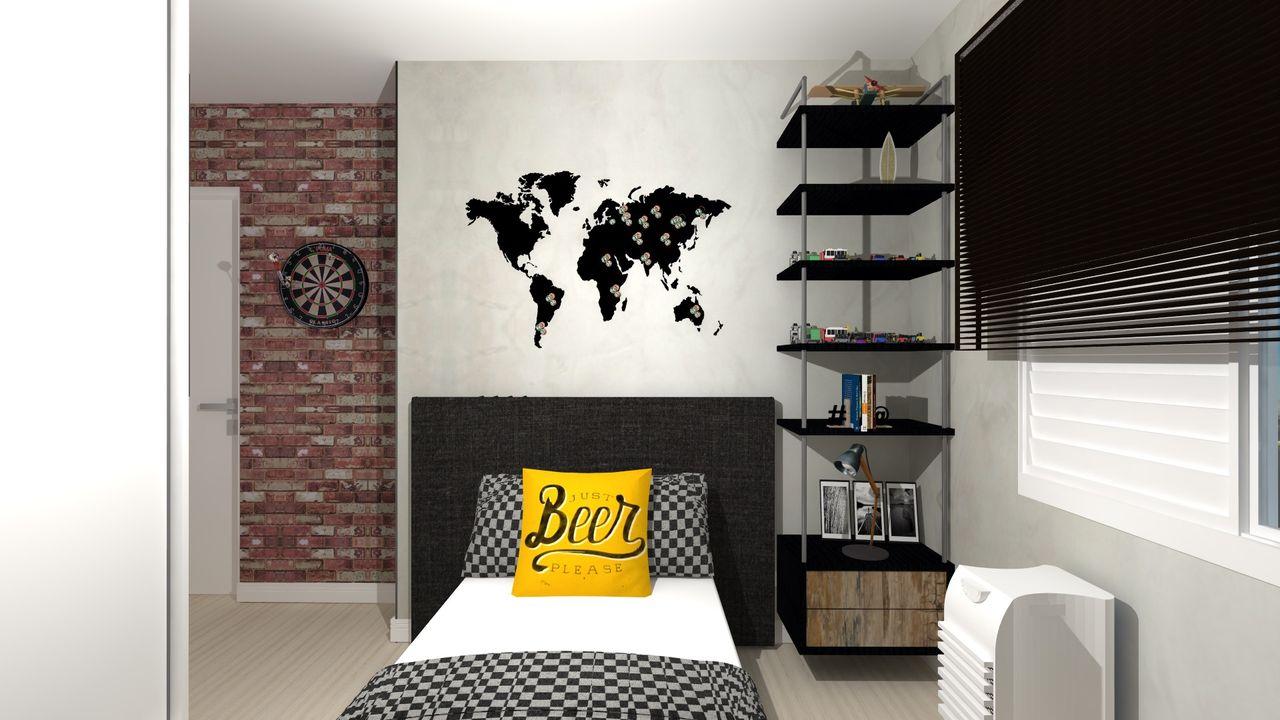 Quarto De Solteiro Moderno Com Mapa Mundi De Talita Kaufmann Vian  ~ Decoração Quarto Bebe Moderno E Quarto De Solteiro Menino