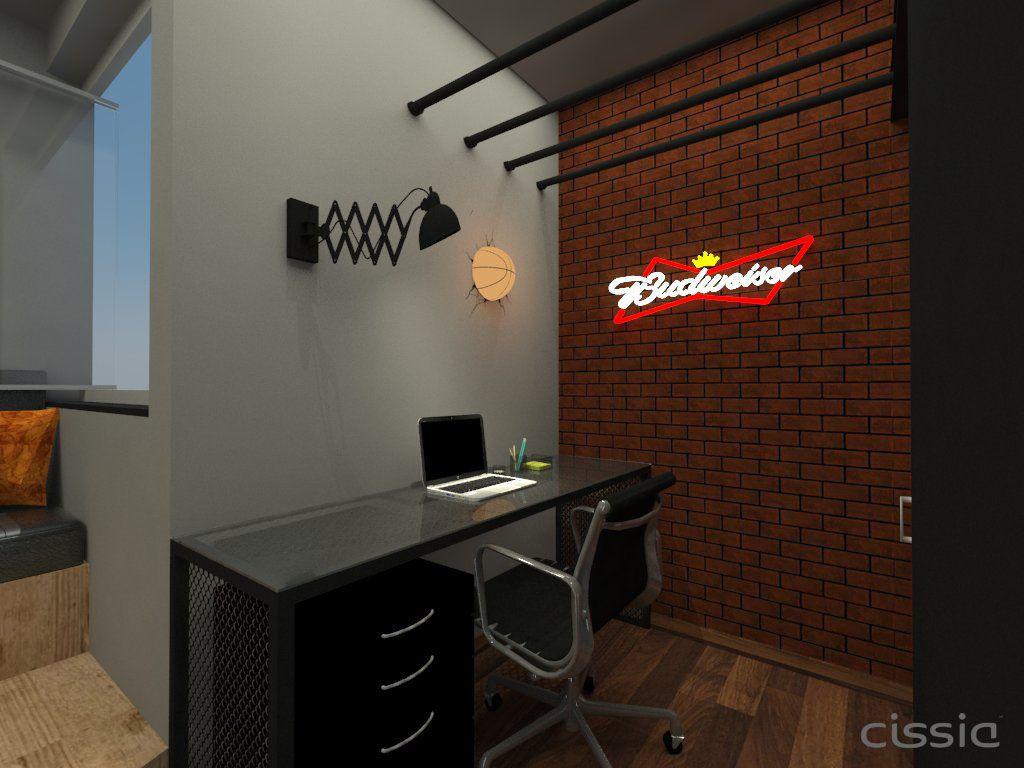 Quarto Solteiro Com Home Office De C Ssia Oliveira 141798 No  ~ Home Office No Quarto De Solteiro