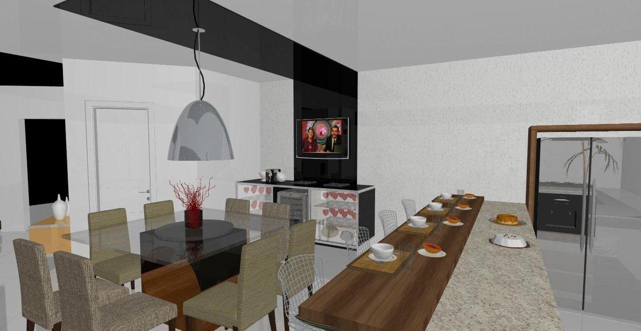 Cozinha Americana Com Bancada De Granito E Madeira De Luiz Santana