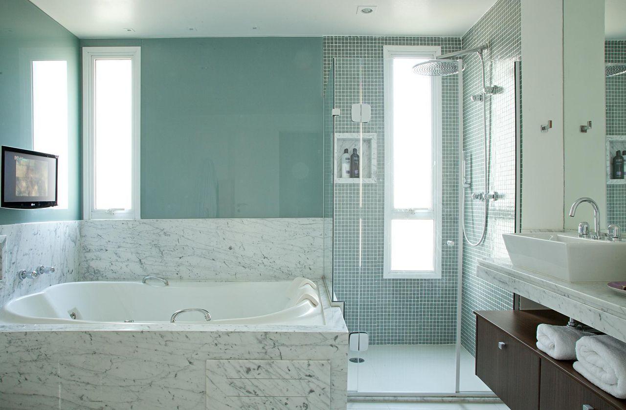 98 Banheiros Decorados Com Efici Ncia E Cuidado ~ Projeto De Quarto De Solteiro E Quarto Roxo E Verde Agua