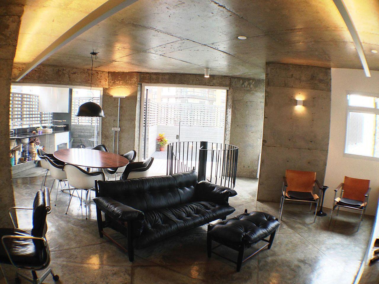 Acabamento Do Ambiente Com Cimento Queimado De Odvo Arquitetura E  -> Acabamento Para Sala De Estar