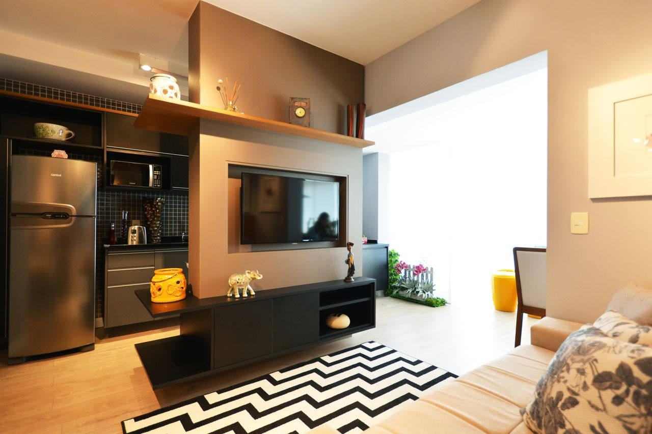 Studio Com Sala De Tv Moderna Integrada Cozinha De Zark Studio Lab  -> Sala De Estar Apartamento Decoracao