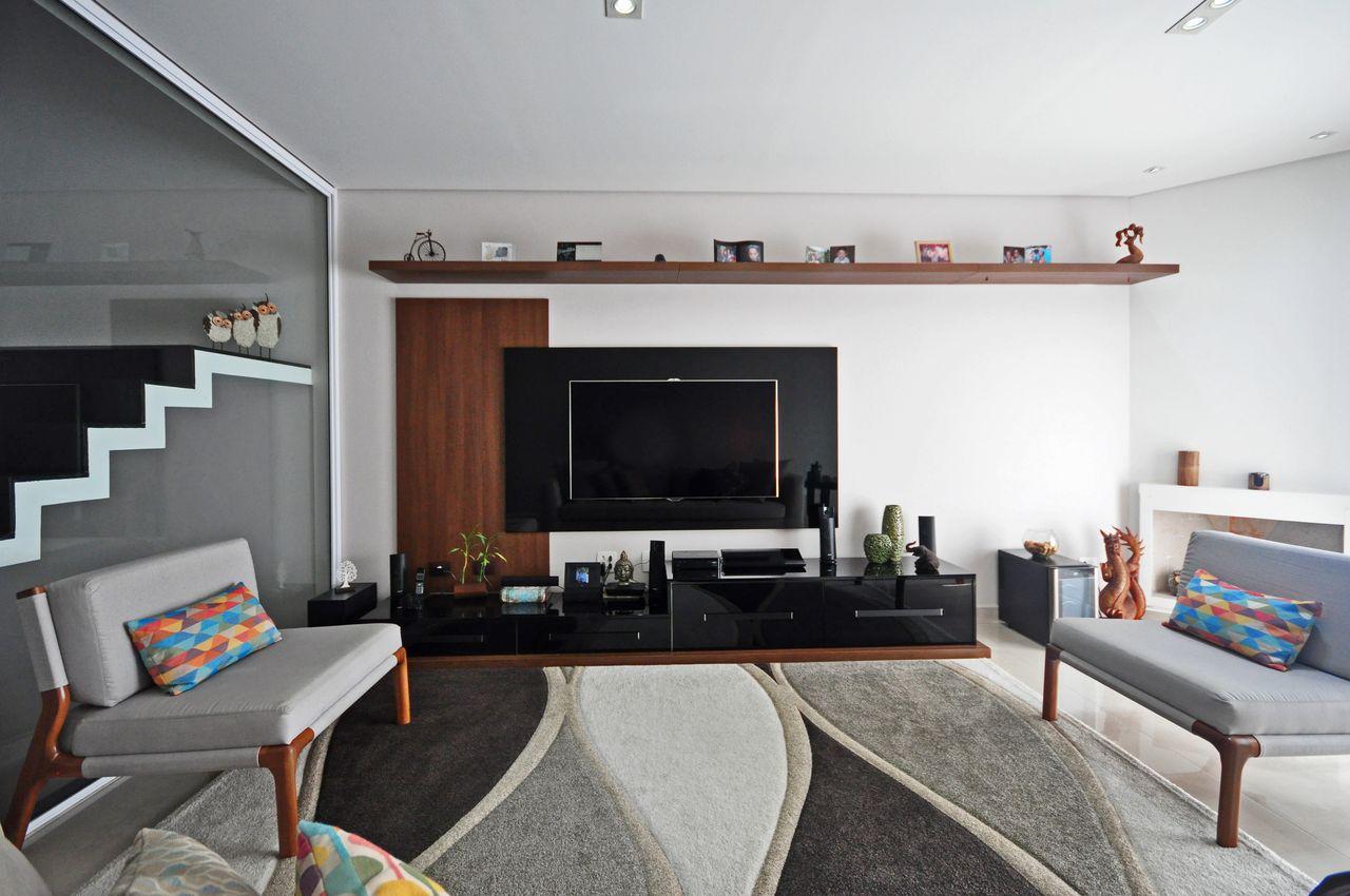 Sala De Estar Cinza Com Rack Preto De Condecorar Arquitetura E  -> Sala Cinza Preto
