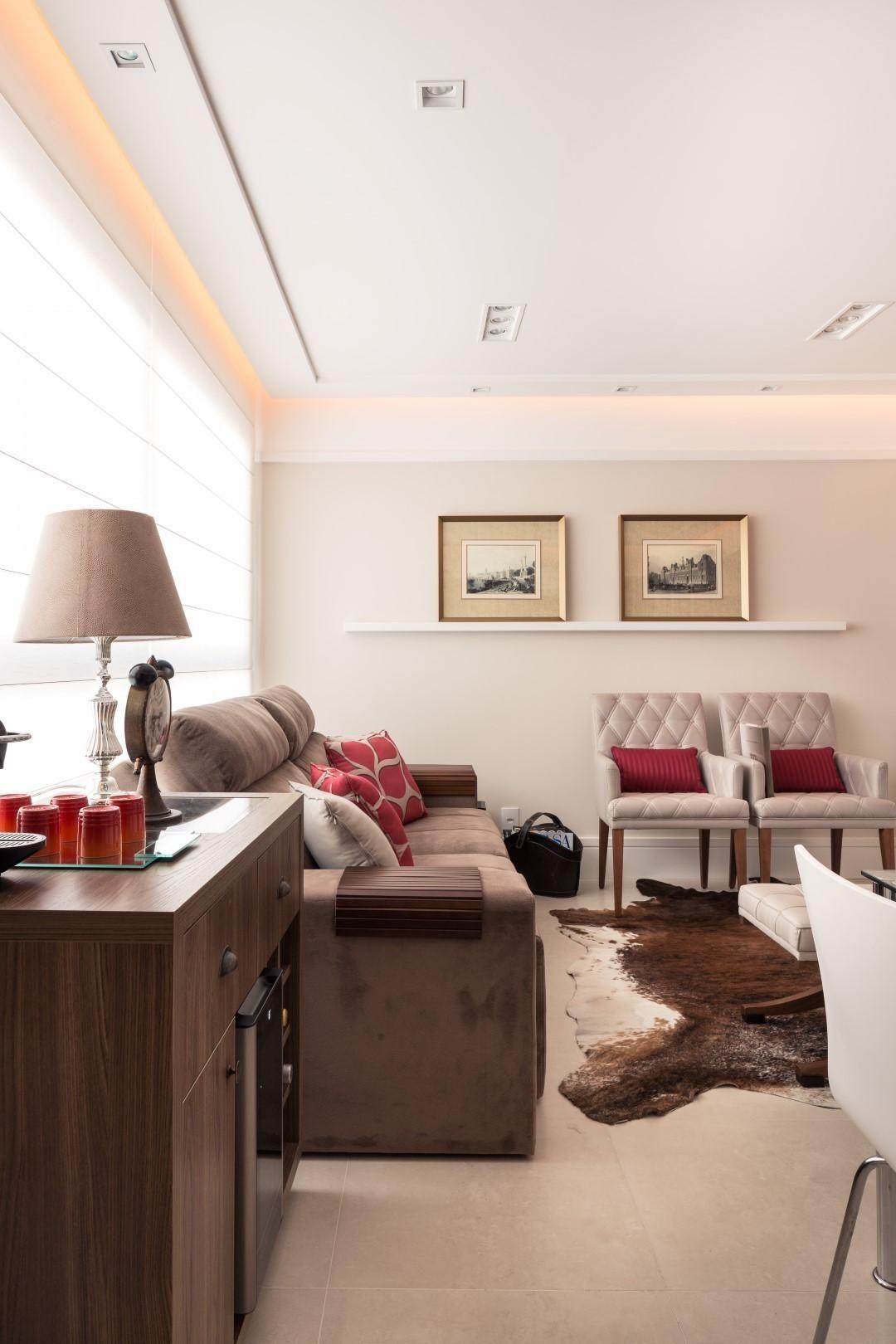 Sala De Estar Com Aparador E Abajur De Braccini Lima Arquitetura  -> Abajur Para Sala De Estar E Jantar