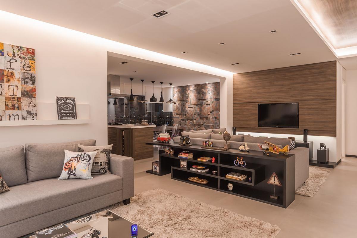 Sala De Estar Com Cozinha Integrada De Raduan Arquitetura 100092  -> Sala E Cozinha Integrada Como Decorar
