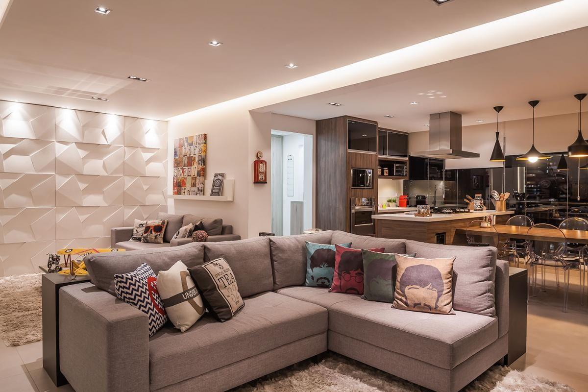 Sala De Estar Com Cozinha Integrada De Raduan Arquitetura 100094
