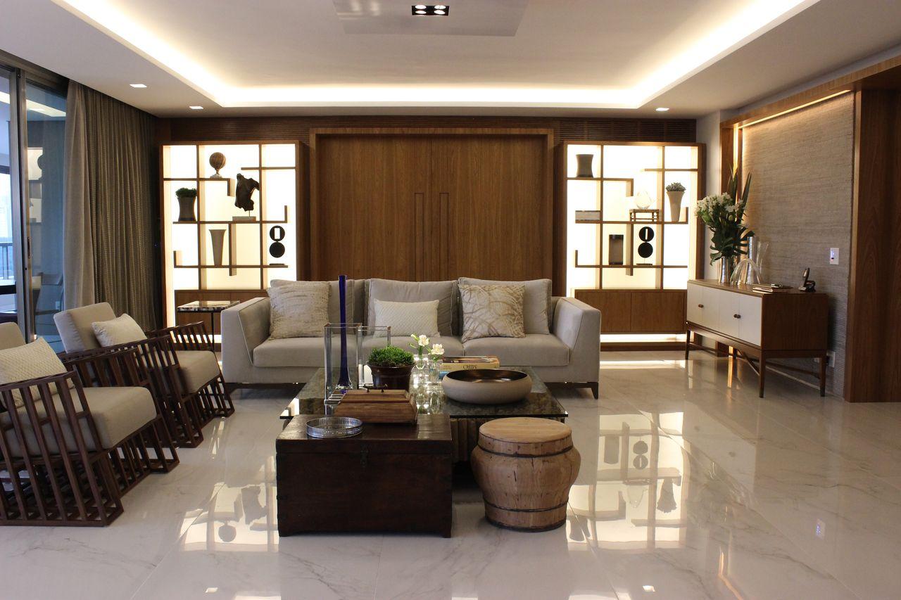 Sanca com iluminação e piso com mármore de Maricy Marcos Borges ...
