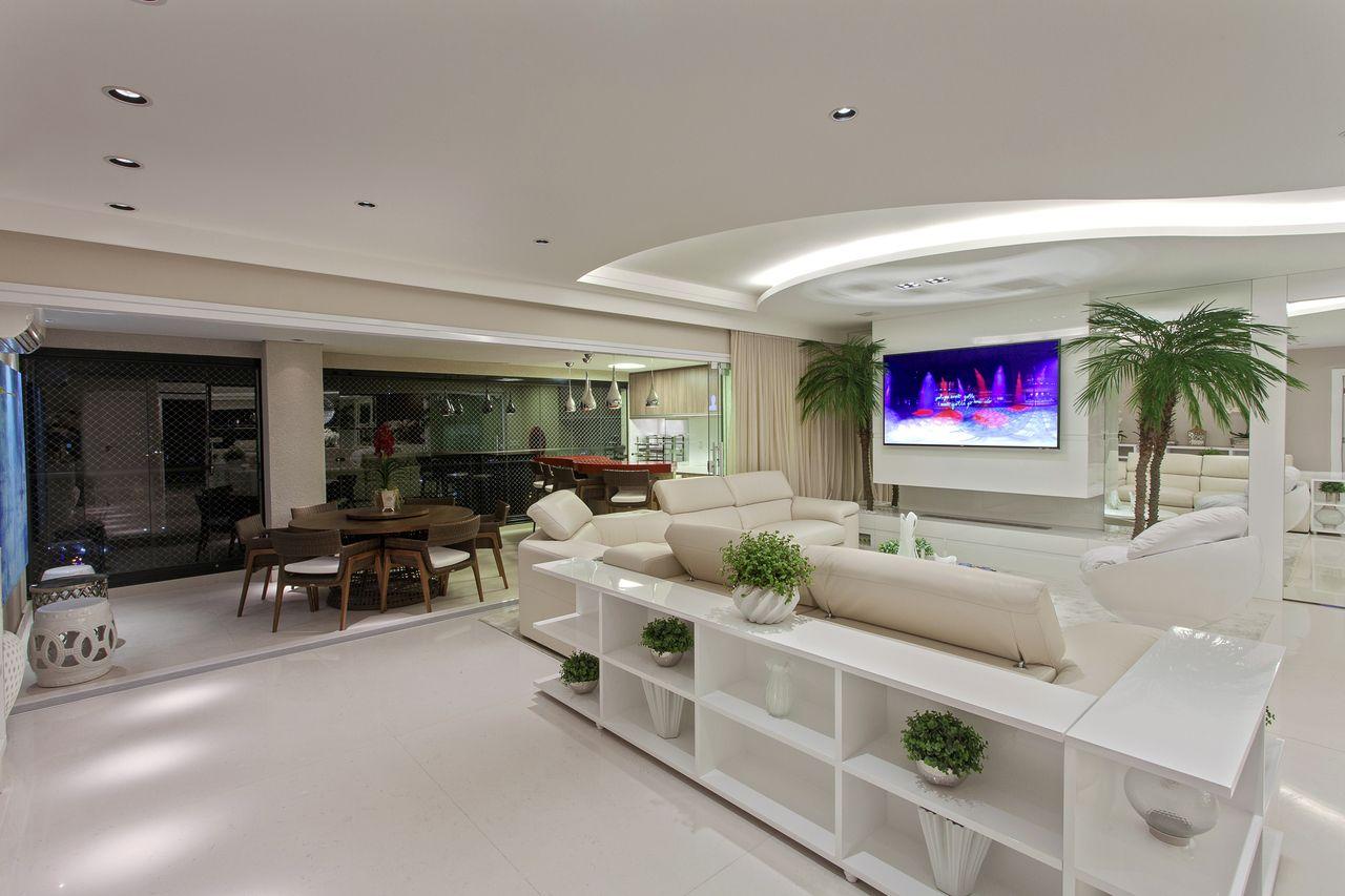 Sala De Estar Clean Integrada Com Varanda Gourmet De Iara Kilaris