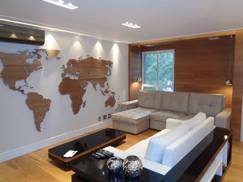 mapa mundo madeira Sala de Estar Mapa Mundi em Madeira na Parede de RICARDO  mapa mundo madeira