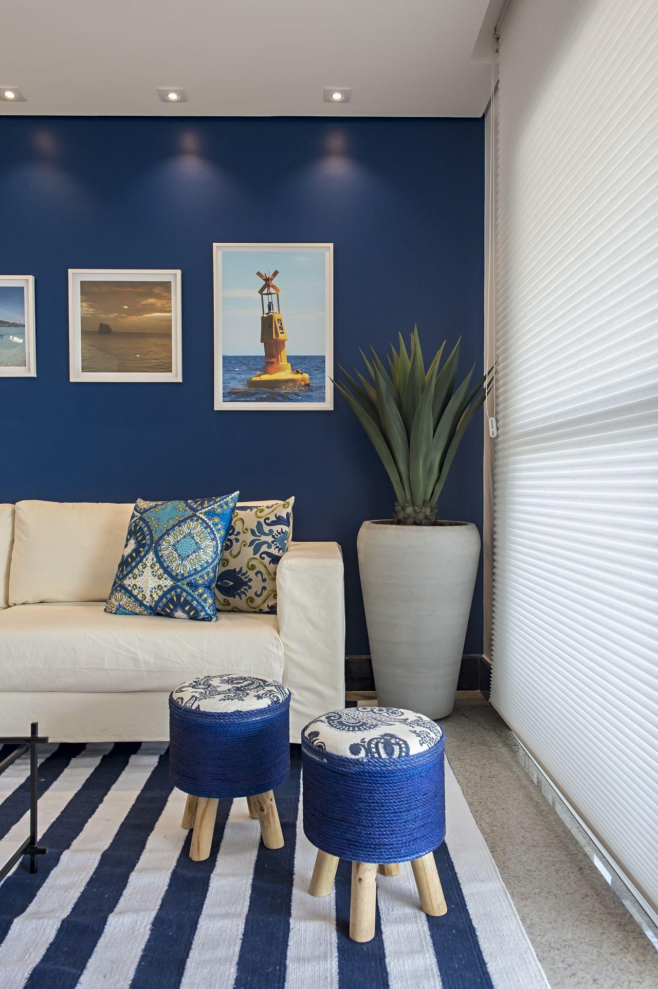 Sala De Estar Com Parede Azul De Marcia Debski Ferreira 133887 No  -> Decoracao De Sala Azul