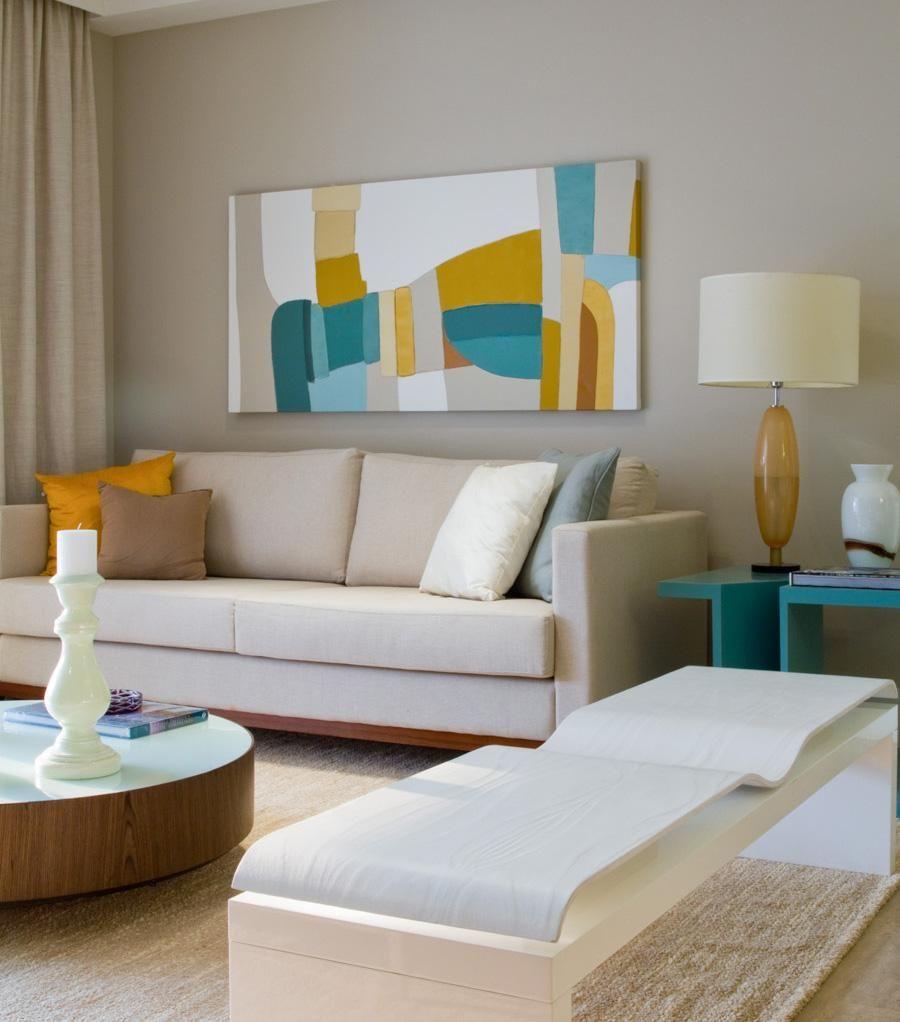 Sala De Estar Com Quadro Amarelo Com Azul De Mar Lia Veiga 86519  -> Decoracao De Sala Azul