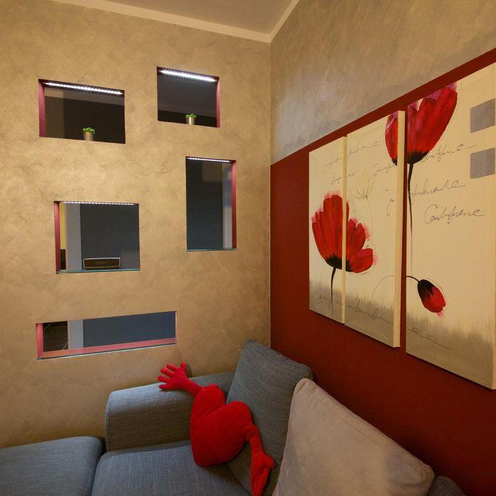 Sala de estar com quadro vermelho de gabriele barotto for Sala de estar quadro