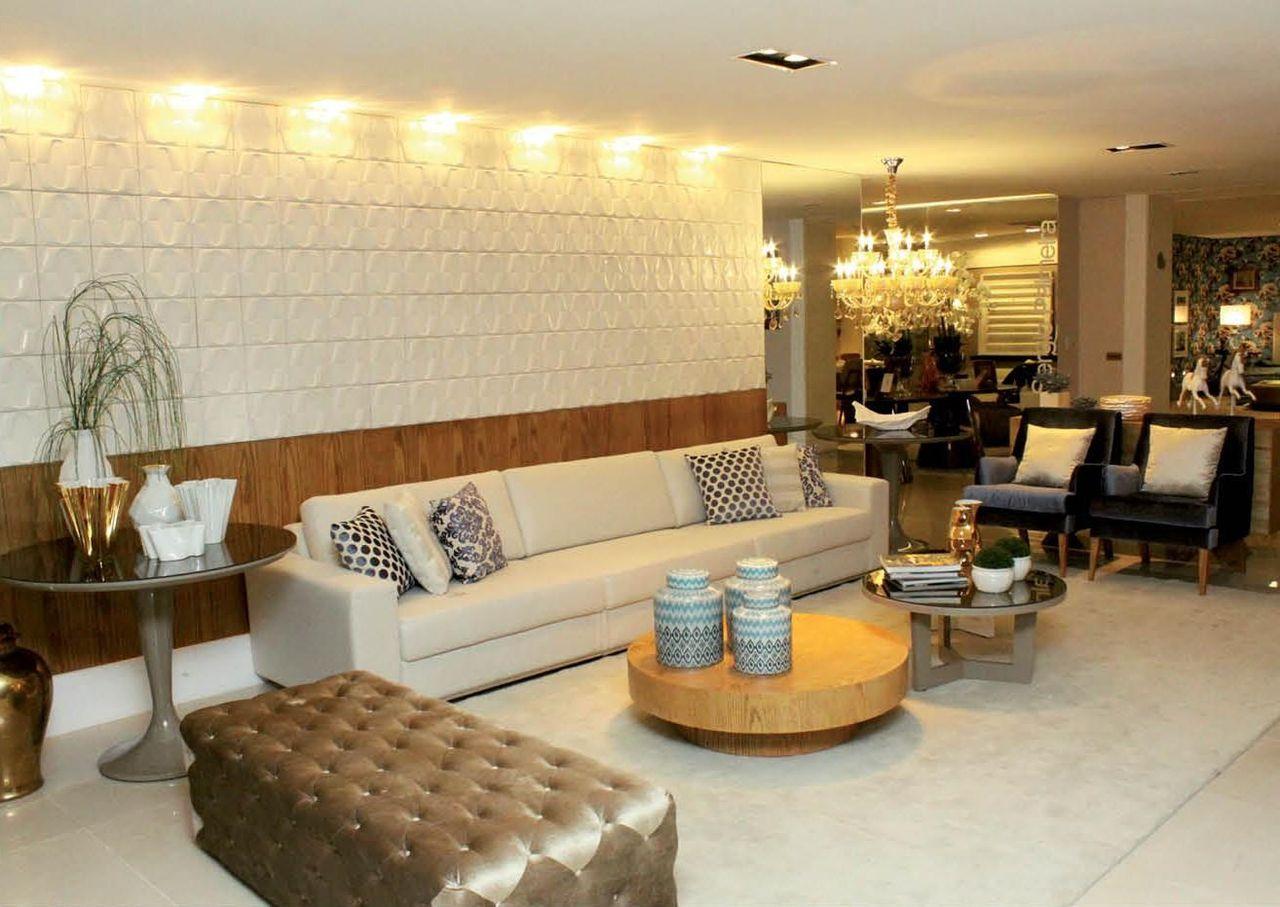 Sala de estar com revestimento 3d de cs projetos decora o for Revestimento 3d sala de estar