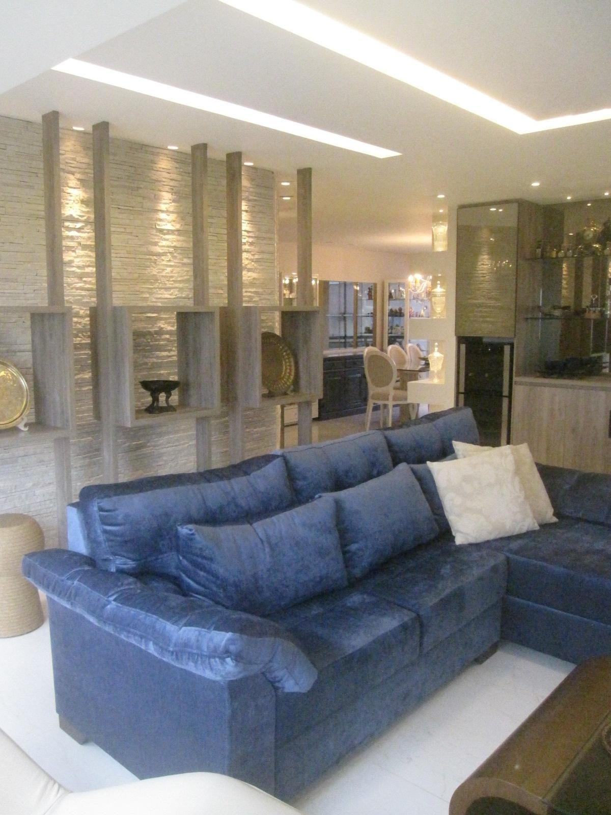 Sala De Estar Com Sof Azul De Patr Cia Medeiros 106660 No Viva Decora -> Decoracao De Sala Azul