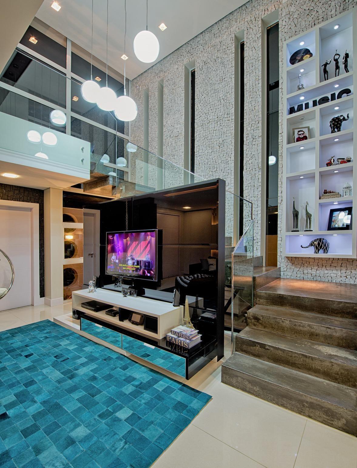 Sala De Estar Com Tapete Azul De Espa O Do Tra O Arquitetura  -> Tapete Sala Decoracao