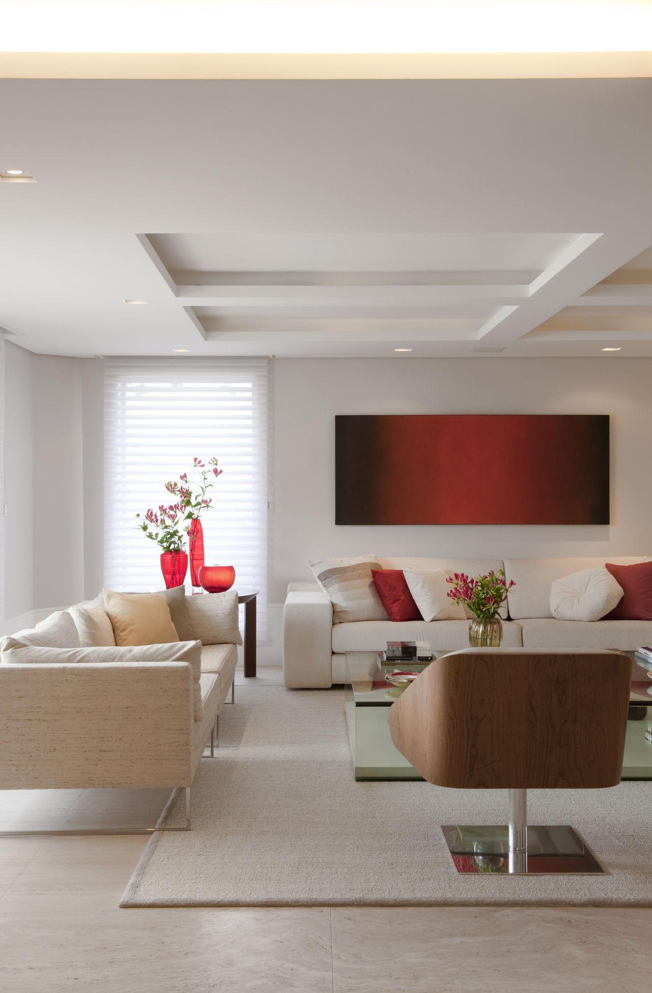 Sala De Estar Com Teto De Gesso De Marcelo Rosset Arquitetura  -> Decoracao De Gesso Em Salas