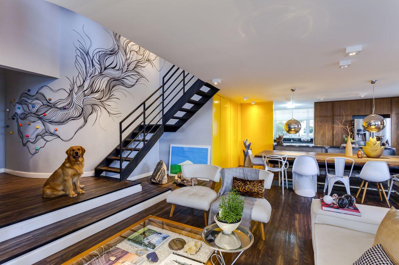Apartamento Moderno Com Obra De Arte De Igor Miyahara 139197 No  -> Sala De Estar Apartamento Decoracao