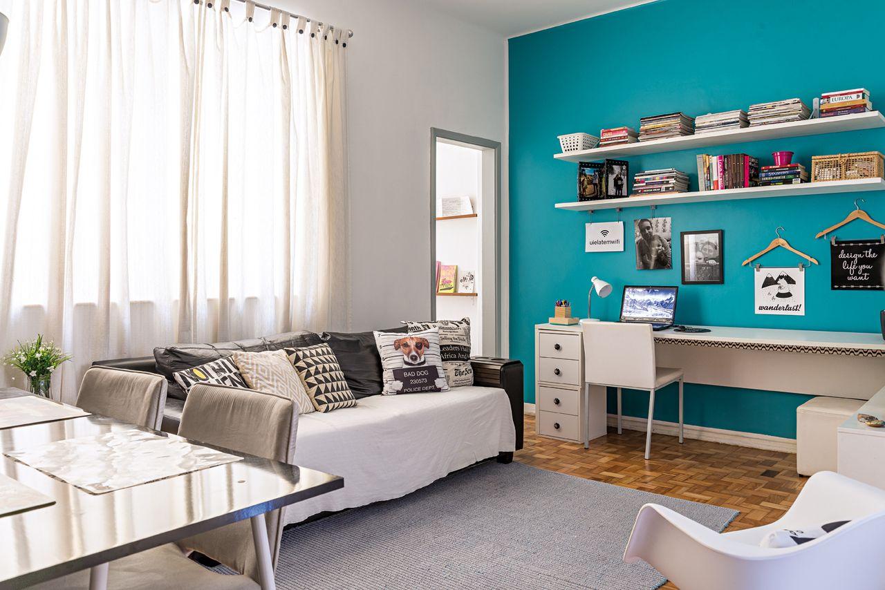 Home Office Com Parede Azul Turquesa De Ana Carolina Campos Fran A  ~ Escritorio No Quarto De Casal E Quarto Casal Azul Tiffany