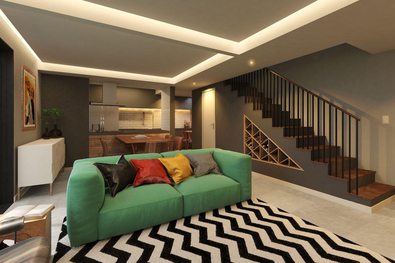 Sala De Estar Moderna Com Sof Verde De Regina Docha 140415 No