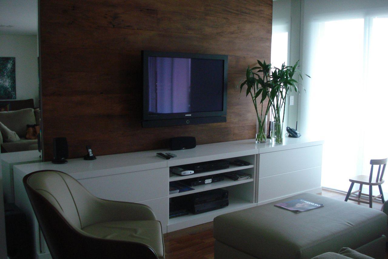 Sala De Estar Painel Para Tv Marrom De Karen Pisacane 20273 No  -> Sala Simples Marrom