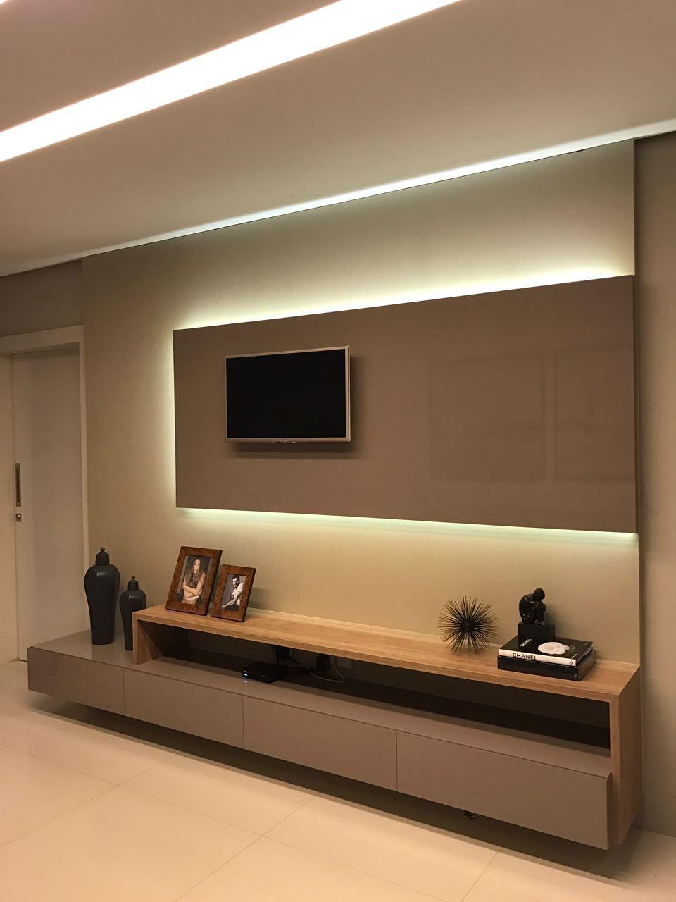 Painel Tv Iluminado De Thalita Rosa 150990 No Viva Decora -> Foto Painel Para Tv