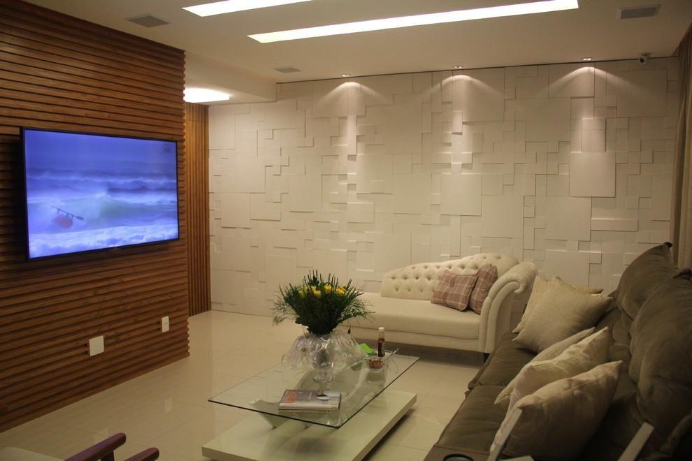 Parede de sala de estar executamos impresso em papel de for Revestimento 3d sala de estar