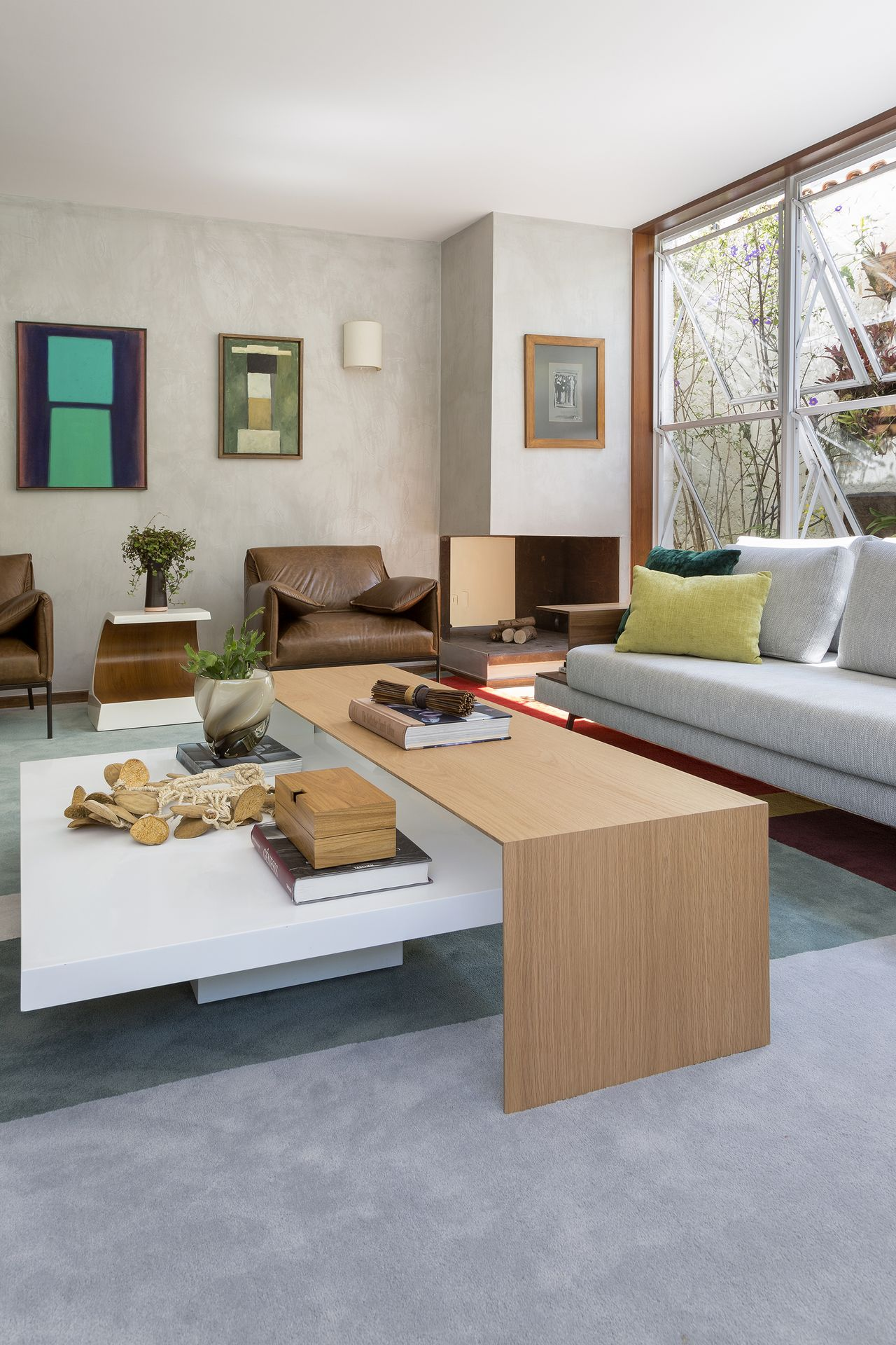 Parede E Piso De Cimento Queimado De D Ptico Design De Interiores  -> Piso Parede Sala