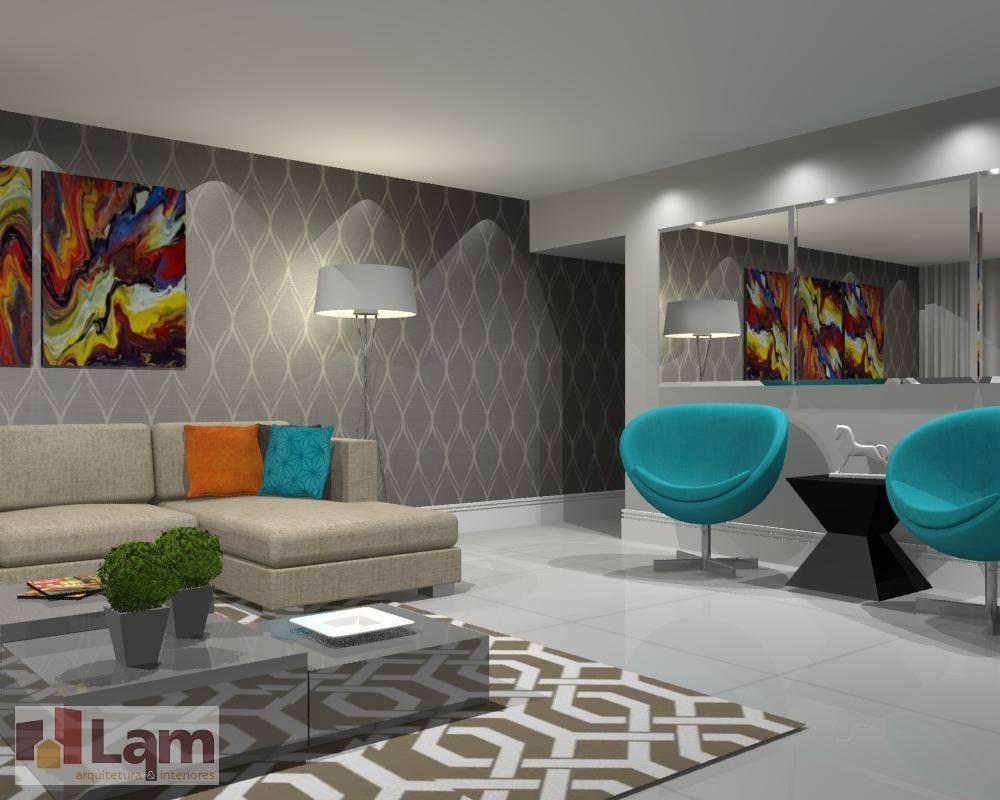Poltrona Azul Turquesa De Lam Arquitetura Interiores 91640 No  -> Decoracao De Sala Azul