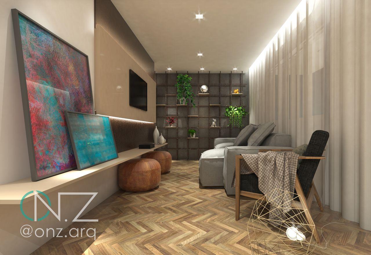 Sala Aconchegante E Moderna Em Tons Neutros De P Rola Camargo  -> Decoracao Para Sala Aconchegante