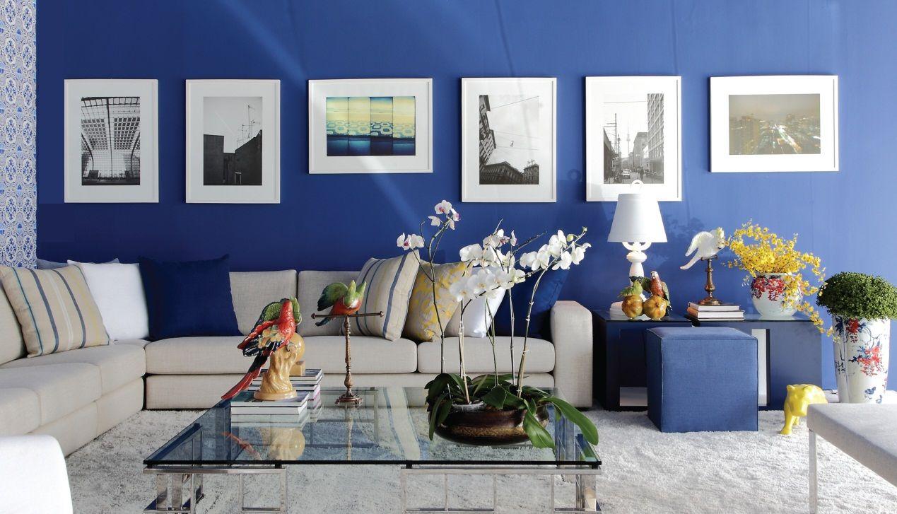 Sala De Estar Azul Escuro Com Quadros De Graziela Lara 134981 No  -> Decoracao De Sala Azul