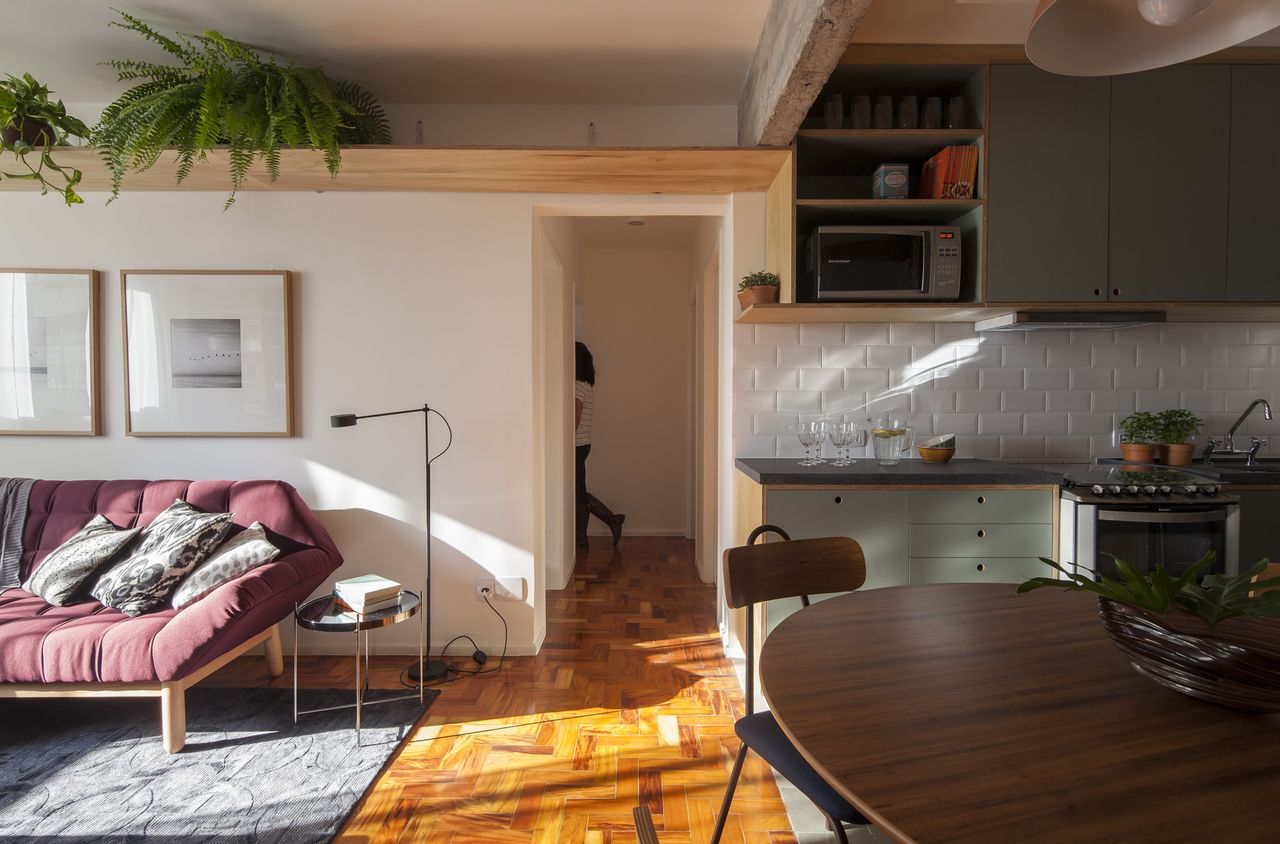 Sala Clean Com Prateleira De Madeira Com Samambaia De In  -> Decoracao De Sala Com Prateleiras