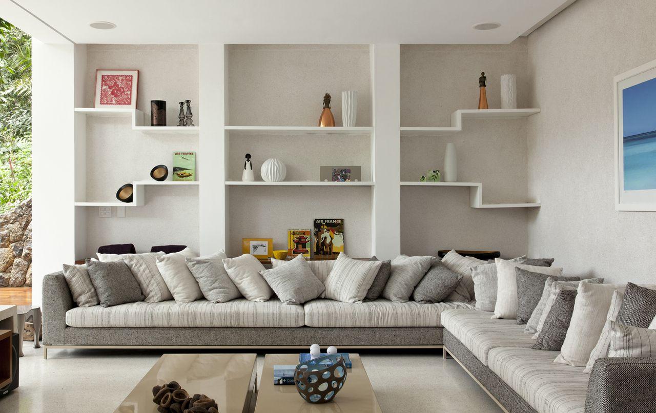 Sala Clean Com Sof Em L Branco E Cinza De Sandra Picciotto 144358  -> Sala De Estar Em L Decorada