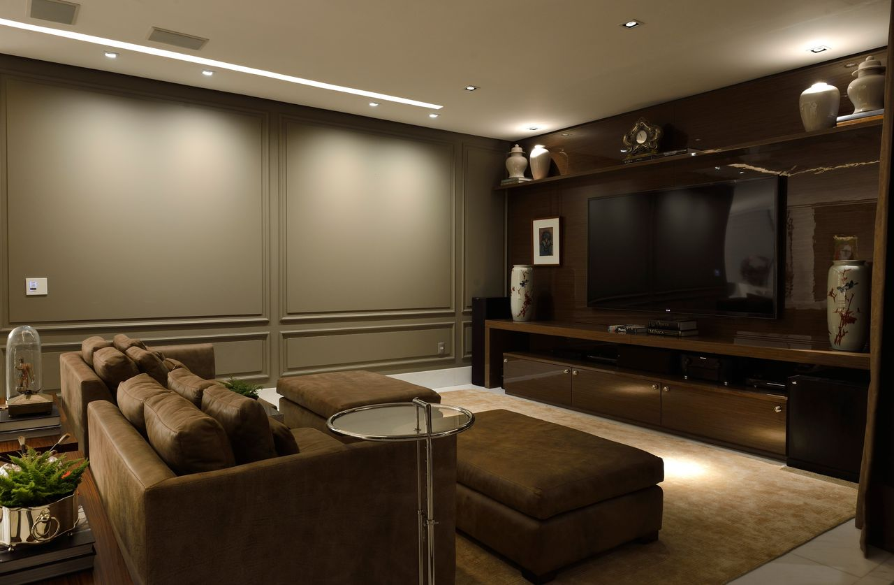 Decorao Sala De Tv Simples Essa Parede Atrs Da Tv With Decorao Sala  -> Sala De Tv Improvisada