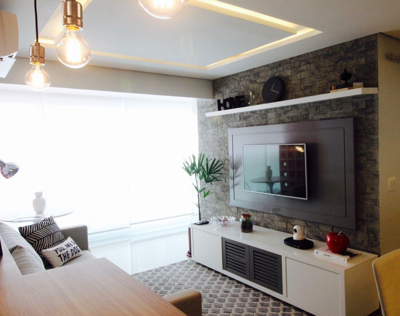 Tv Na Parede Da Sala Papel De Parede Adesivo Tijolo Branco  -> Adesivo Decorativo Na Parede De Tv